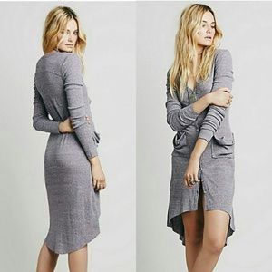 Free People beach grey ribbed long duster cardigan